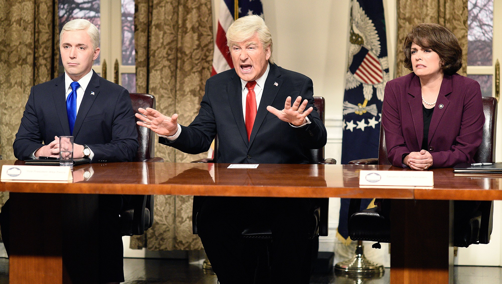 Alec Baldwin, Donald Trump, Beck Bennett, Mike Pence, Cecily Strong, Dianne Feinstein, Presidential Address Cold Open, Saturday Night Live