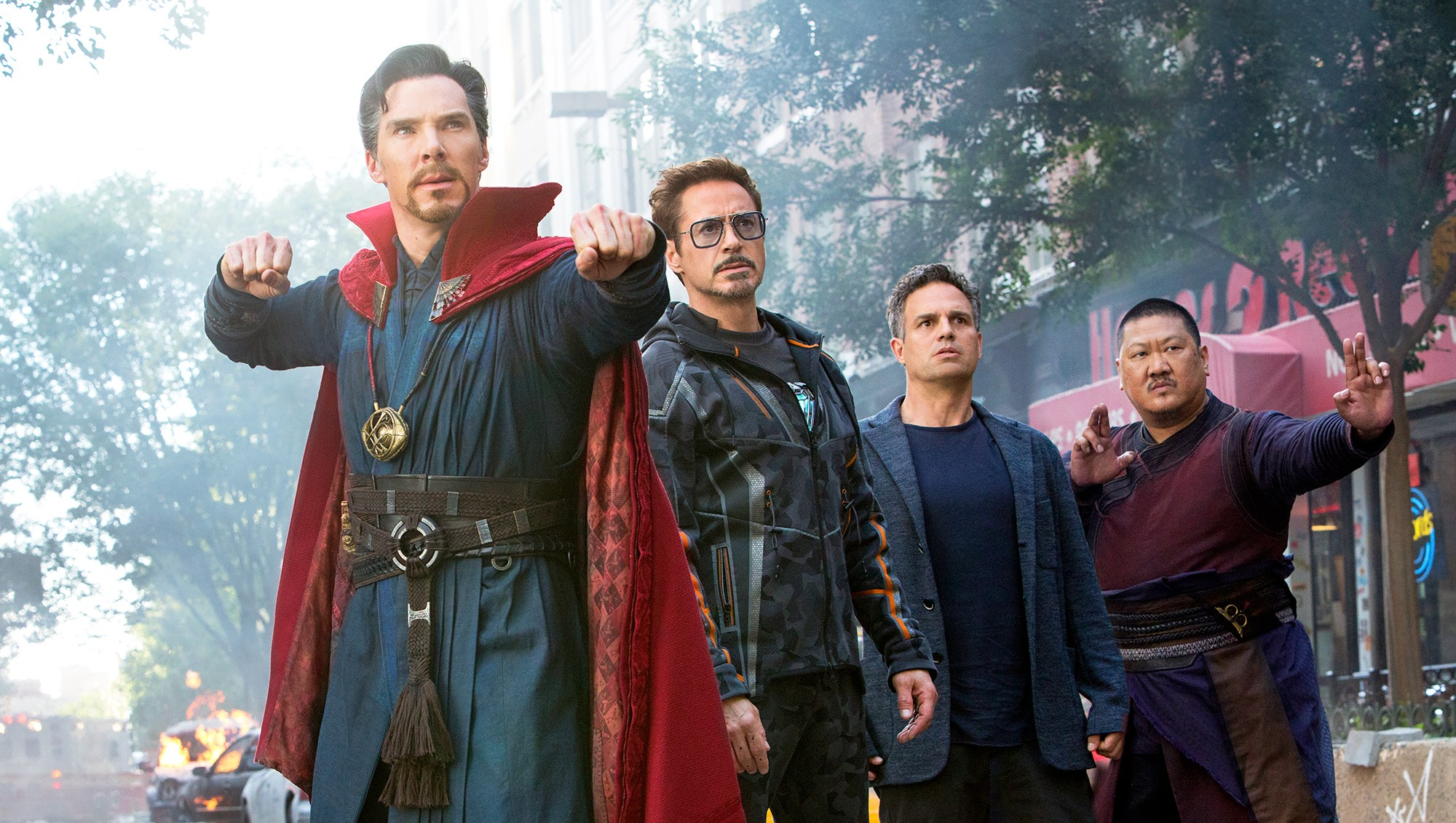 Benedict Cumberbatch, Robert Downey Jr., Mark Ruffalo and Benedict Wong in 'Avengers: Infinity War'