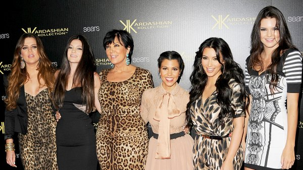 Khloe Kardasian, Kylie Jenner, Kris Kardashian, Kourtney Kardashian, Kim Kardashian and Kendall Jenner attend the Kardashian Kollection Launch Party at The Colony on August 17, 2011 in Hollywood, California.