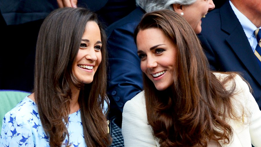 Pippa Middleton and Kate Middleton in the Royal Box on Centre Court during the 2012 Wimbledon Championships tennis tournament at the All England Tennis Club in Wimbledon, London.