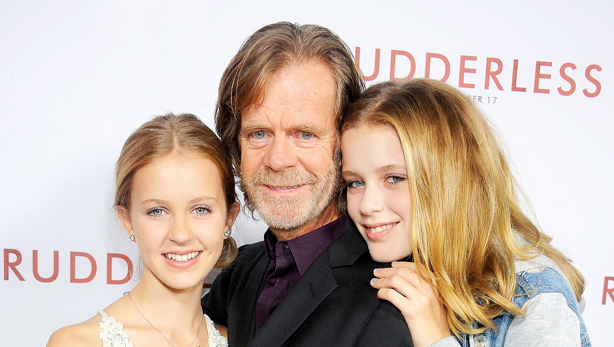 "William H. Macy and daughters Georgia and Sophia arrive at the 2014 Los Angeles VIP Screening of ""Rudderless"" at the Vista Theatre in Los Angeles, California."