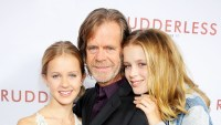 """William H. Macy and daughters Georgia and Sophia arrive at the 2014 Los Angeles VIP Screening of """"Rudderless"""" at the Vista Theatre in Los Angeles, California."""