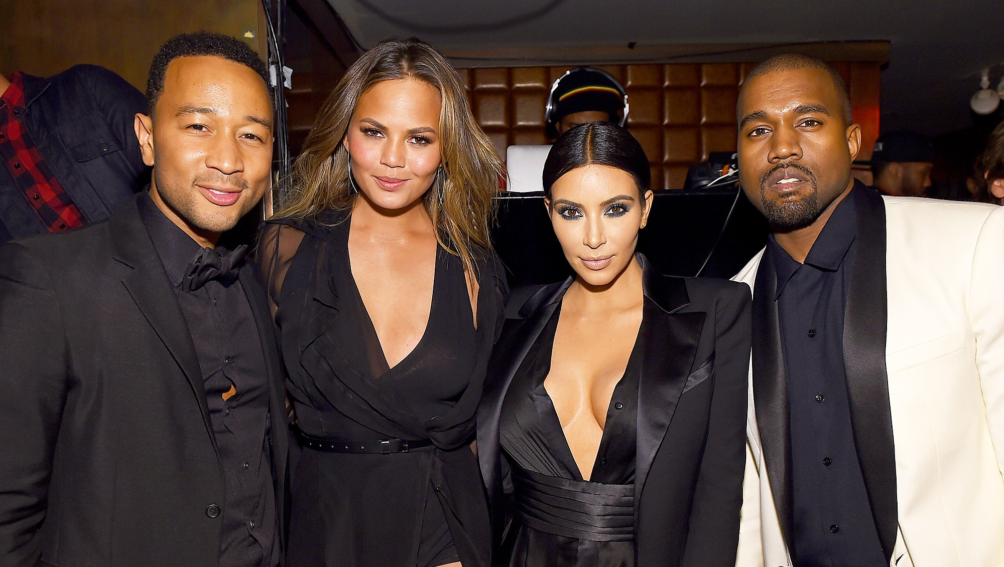 """John Legend, Chrissy Teigen, Kim Kardashian and Kanye West attend John Legend's Birthday And The 10th Anniversary Of His Debut Album """"Get Lifted"""" at CATCH NYC on January 8, 2015 in New York City."""
