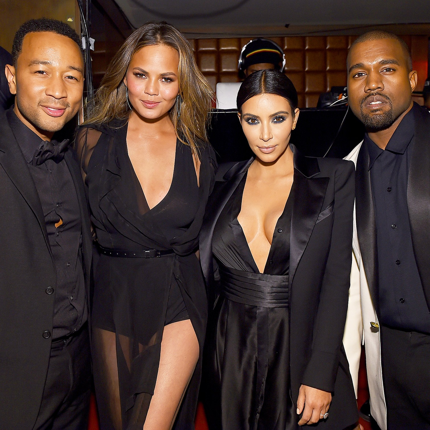 "John Legend, Chrissy Teigen, Kim Kardashian and Kanye West attend John Legend's Birthday And The 10th Anniversary Of His Debut Album ""Get Lifted"" at CATCH NYC on January 8, 2015 in New York City."