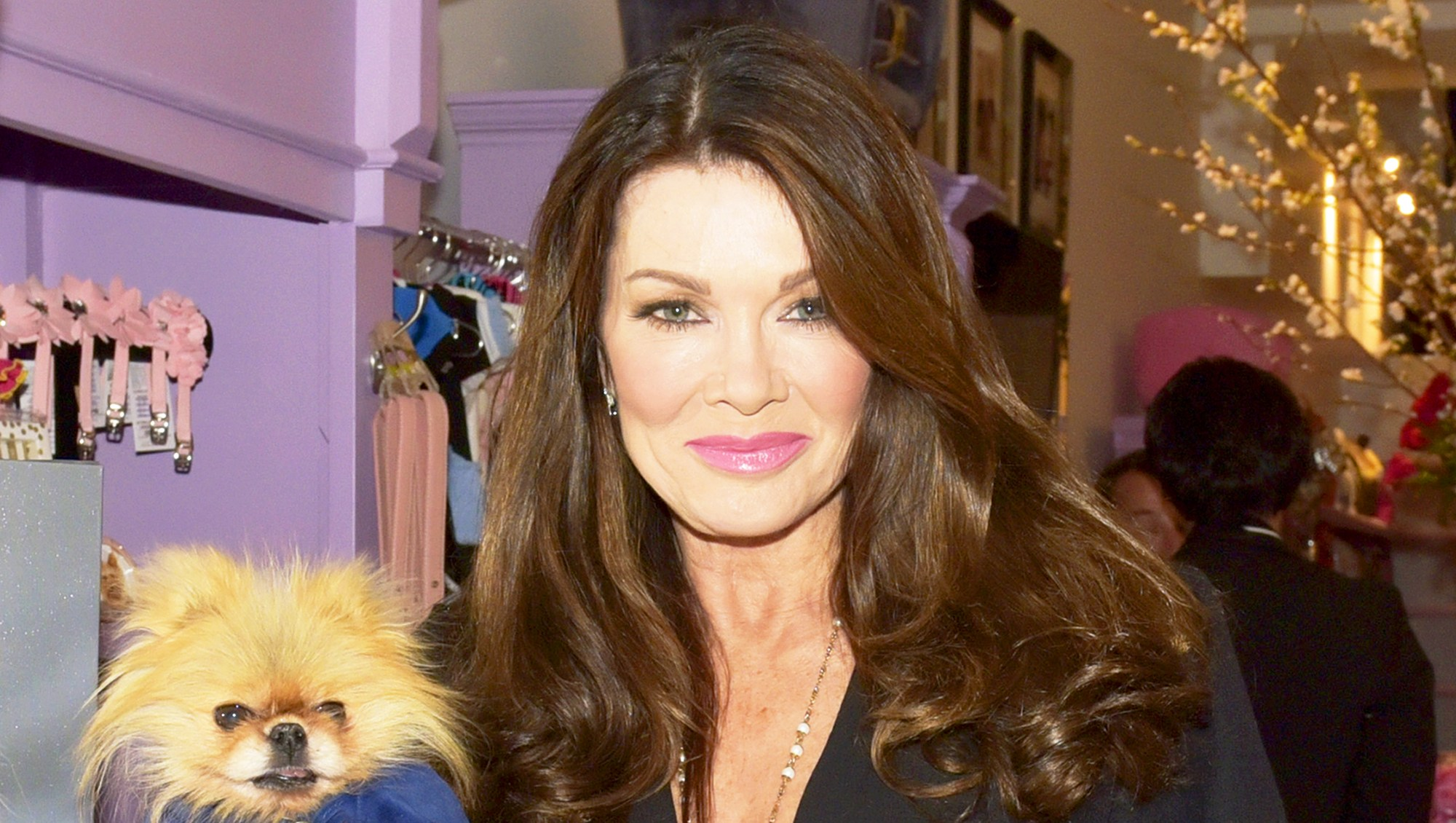 Lisa Vanderpump and dog Giggy at The Vanderpump Dog Center in Los Angeles, California.