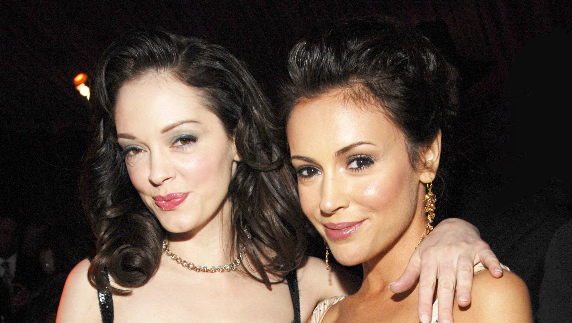 Rose McGowan and Alyssa Milano attend In Style and Warner Bros. 2007 Golden Globe After Party.