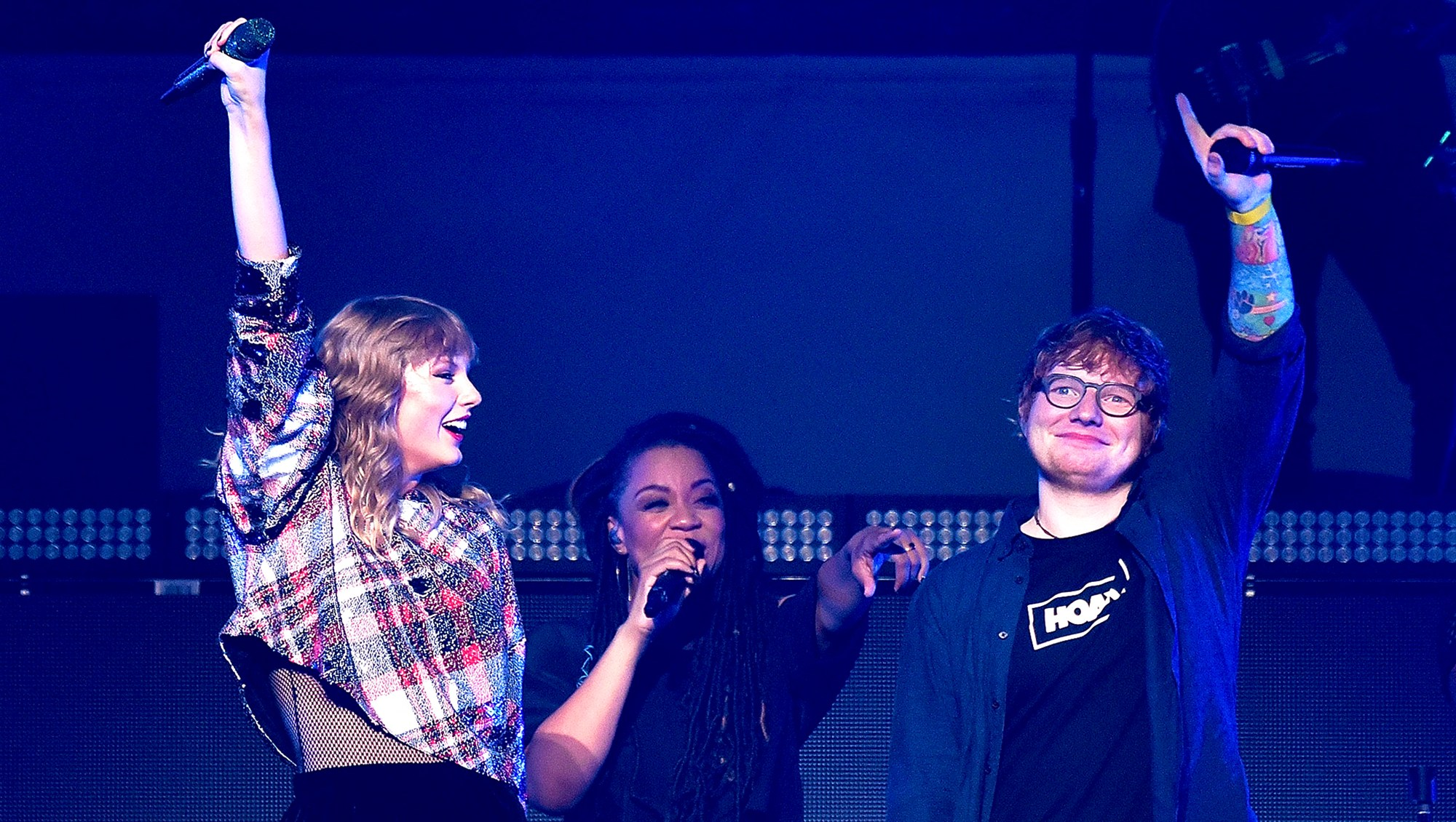 Ed Sheeran joins Taylor Swift onstage during the 99.7 NOW! POPTOPIA 2017 at SAP Center in San Jose, California.