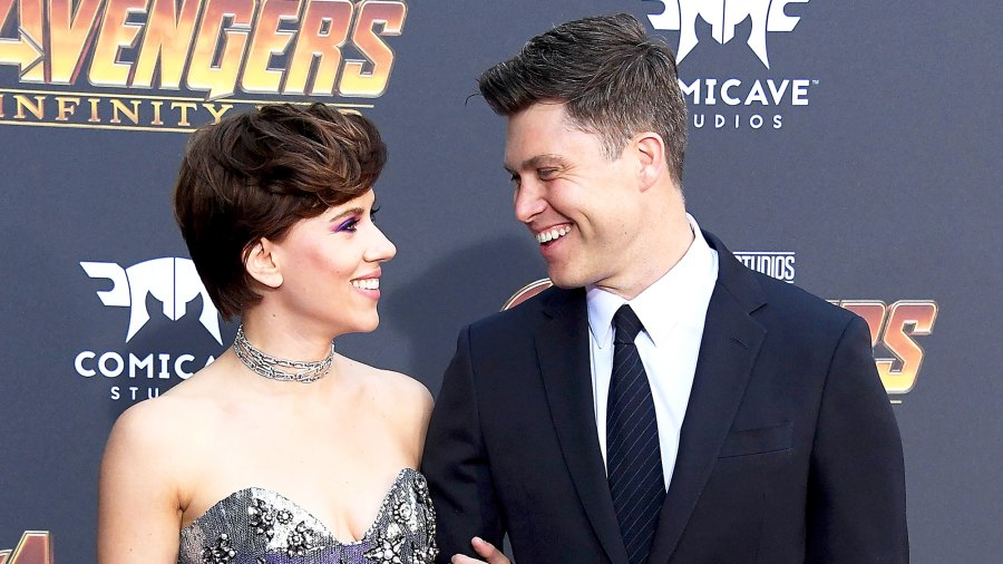 "Scarlett Johansson and Colin Jost arrive at the Premiere Of Disney And Marvel's ""Avengers: Infinity War"" on April 23, 2018 in Los Angeles, California."