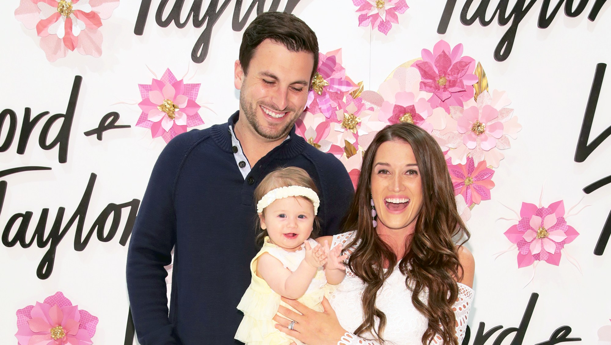 Tanner Tolbert and Jade Roper and daughter Emerson celebrate Mother's Day At Lord & Taylor Fifth Avenue on April 26, 2018 in New York City.