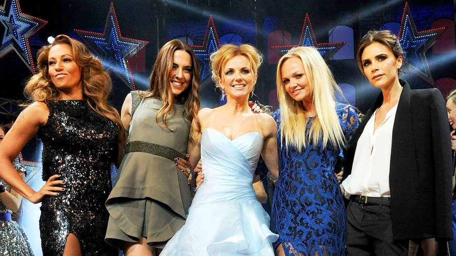 Mel B, Mel C, Geri Halliwell, Emma Buton and Victoria Beckham during the 2012 Gala Press Night performance of 'Viva Forever' at the Piccadilly Theatre in London, England.