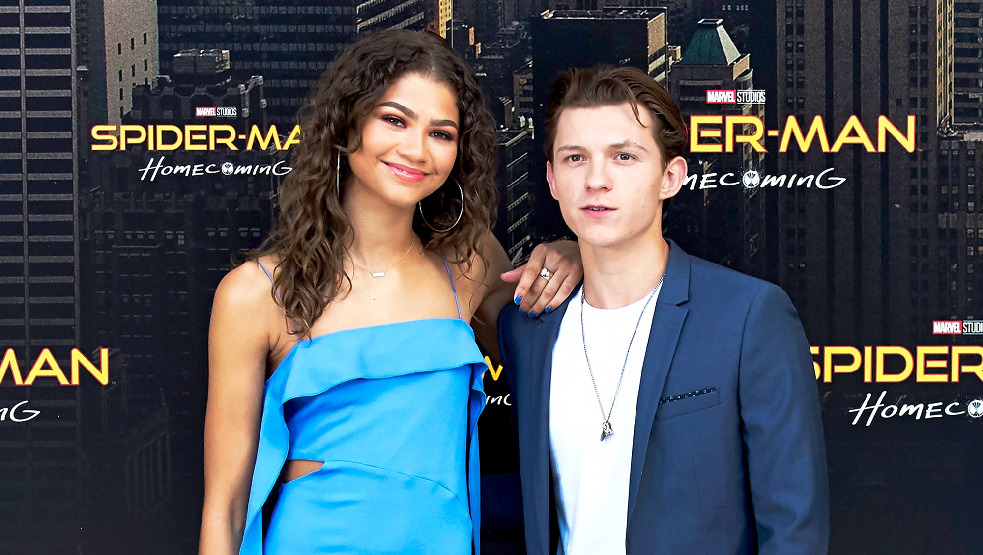 Zendaya and Tom Holland attend 'Spider-Man: Homecoming' 2017 photocall at the Villamagna Hotel in Madrid, Spain.