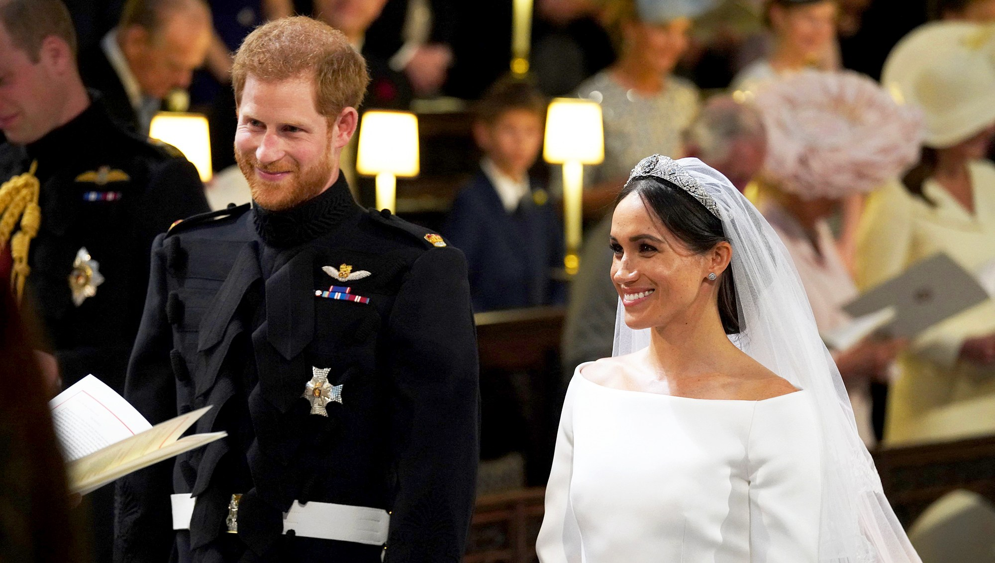 Prince Harry and Meghan Markle at St George's Chapel, Windsor Castle on May 19, 2018 in Windsor, England.