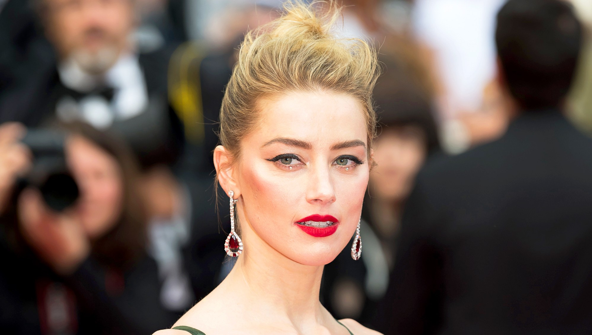 Amber Heard attends the screening of 'Sorry Angel' during the 71st annual Cannes Film Festival at Palais des Festivals in Cannes, France.