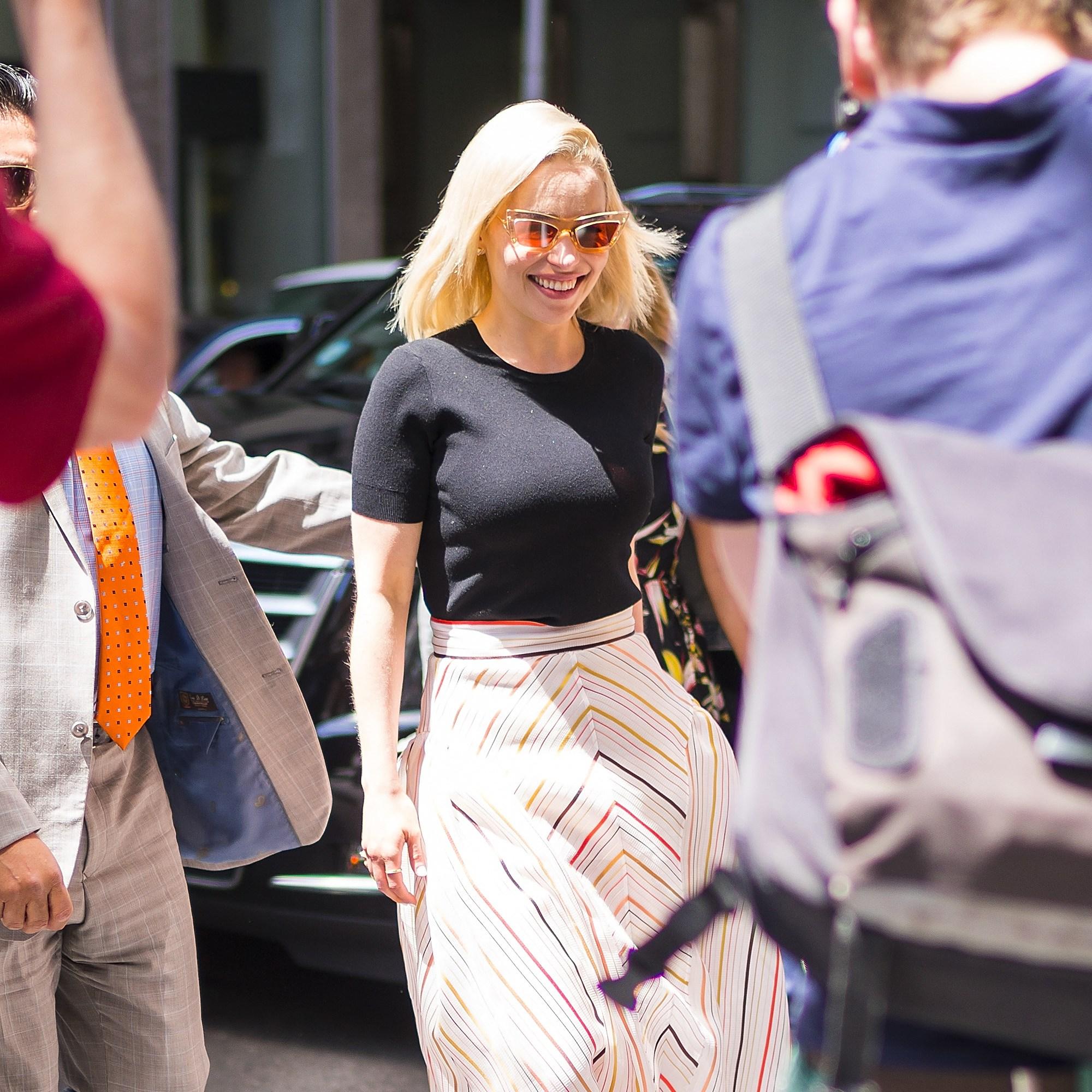 Emilia Clarke NYC striped skirt