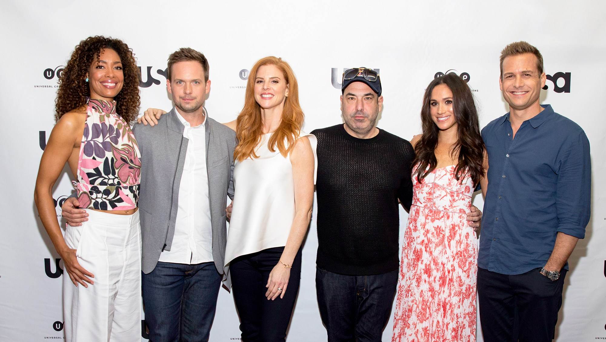 'Suits' stars Gina Torres, Patrick J. Adams, Sarah Rafferty, Rick Hoffman, Meghan Markle and Gabriel Macht attend 2017 Script Reading Presented by USA Network.