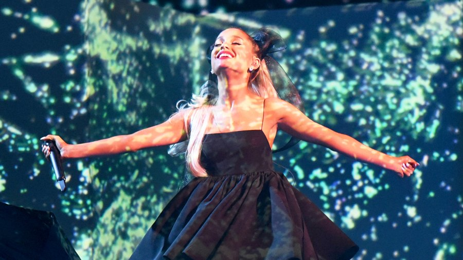 Ariana Grande performs during the 2018 Billboard Music Awards at the MGM Grand in Las Vegas, Nevada.