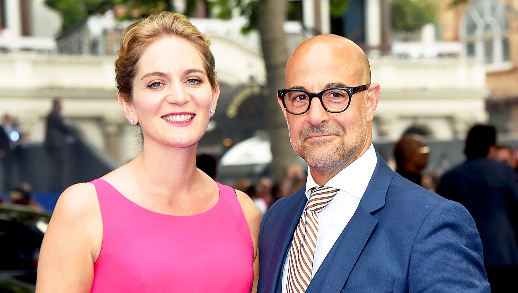 """Stanley Tucci and Felicity Blunt attend the global 2017 premiere of """"Transformers: The Last Knight"""" at Cineworld Leicester Square in London, England."""