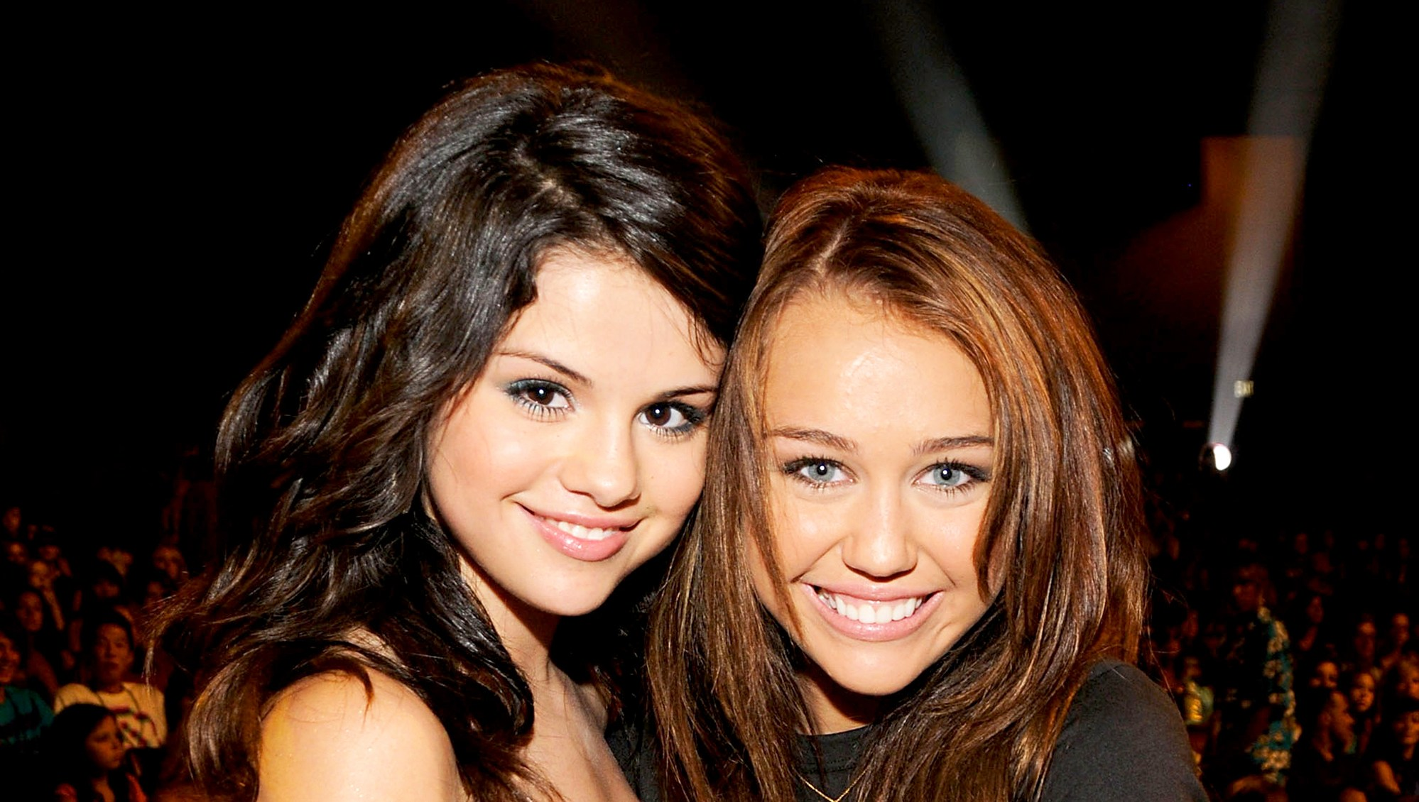 Selena Gomez and Miley Cyrus during the 2008 Teen Choice Awards at Gibson Amphitheater in Los Angeles, California.