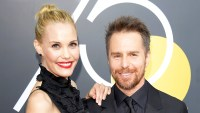 Leslie Bibb and Sam Rockwell attend the 75th annual Golden Globe Awards at The Beverly Hilton in Beverly Hills.