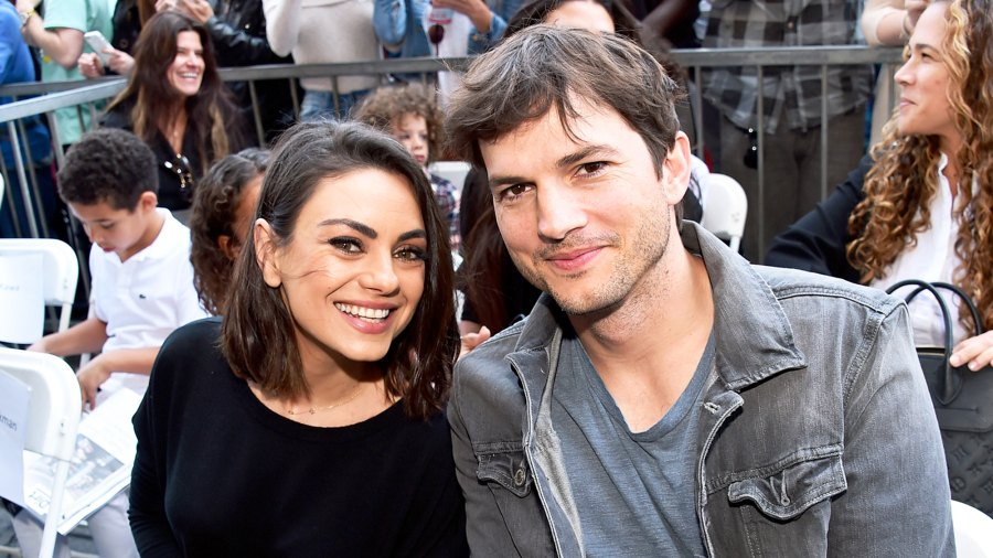 Mila Kunis and Ashton Kutcher at the Walk of Fame Star Ceremony on May 3, 2018 in Hollywood, California.