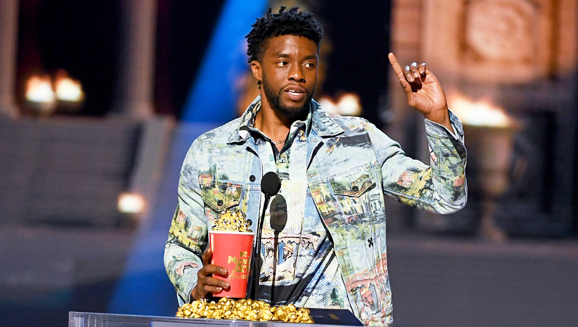 Chadwick Boseman accepts the Best Hero award for 'Black Panther' onstage during the 2018 MTV Movie And TV Awards at Barker Hangar on June 16, 2018 in Santa Monica, California.