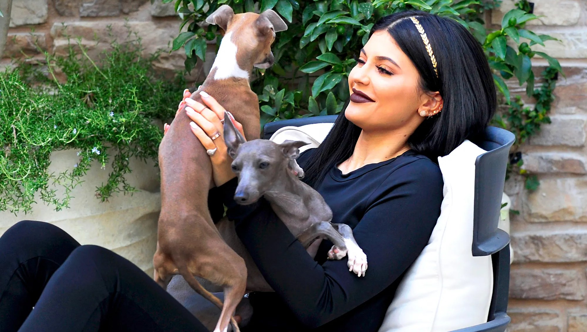 Kylie Jenner with her dogs Normie and Bambi in Los Angeles, California.