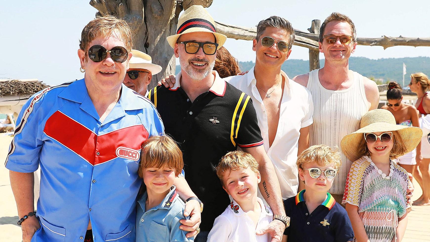 Elton John David Furnish Neil Patrick Harris David Burtka children vacation