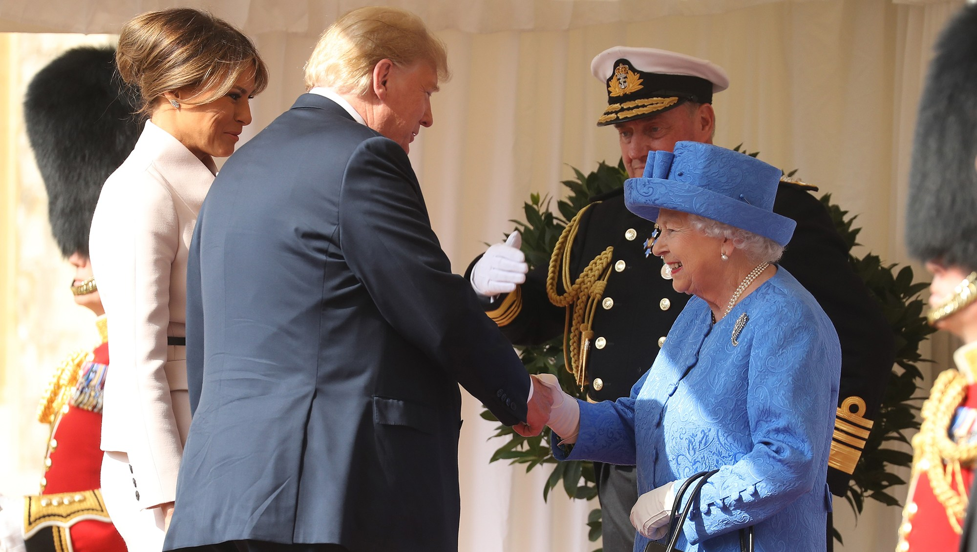 Queen Elizabeth II greets President of the United States, Donald Trump and First Lady, Melania Trump at Windsor Castle on July 13, 2018.