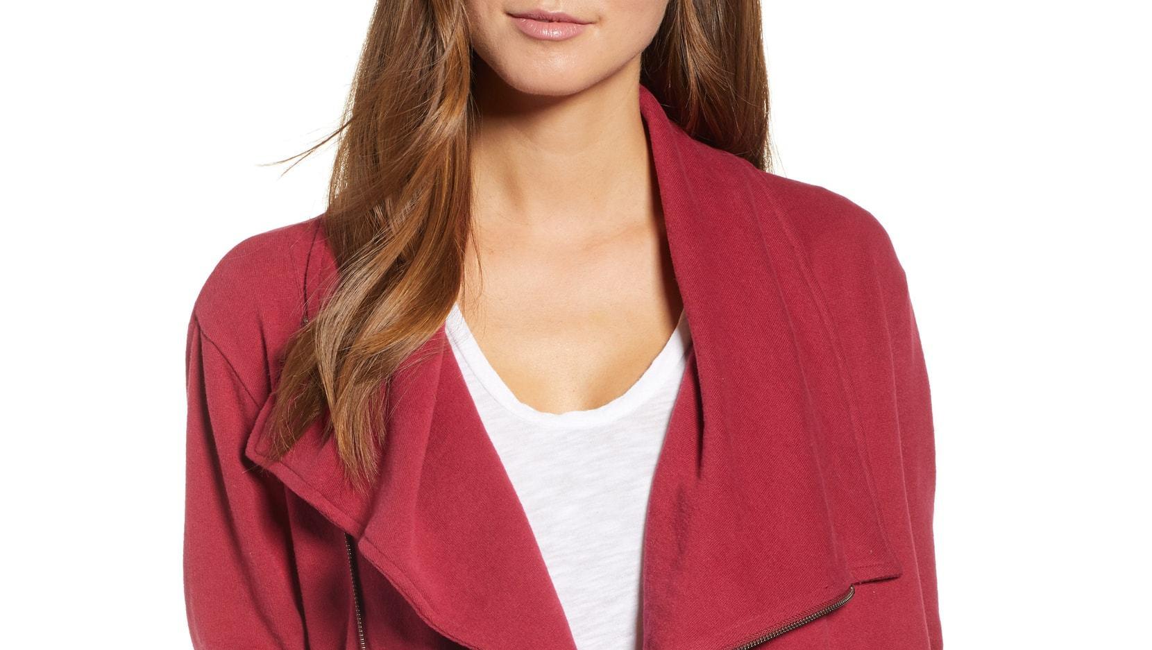 caslon asymmetrical drape jacket