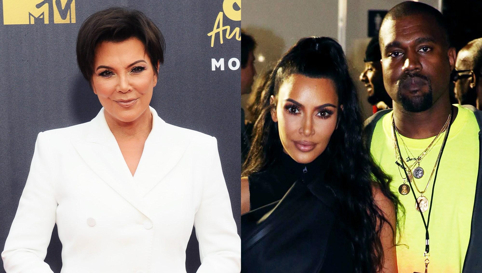 Kris Jenner, Kim Kardashian and Kanye West.