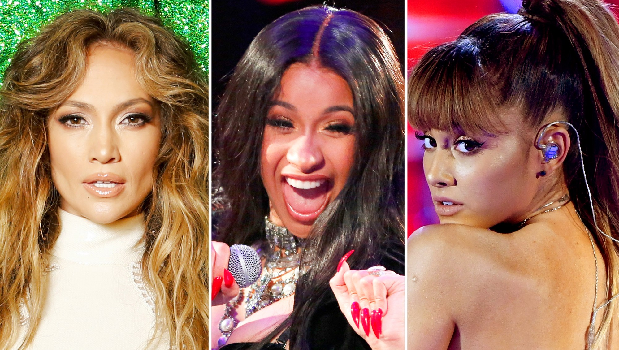 Jennifer Lopez, Cardi B and Ariana Grande,