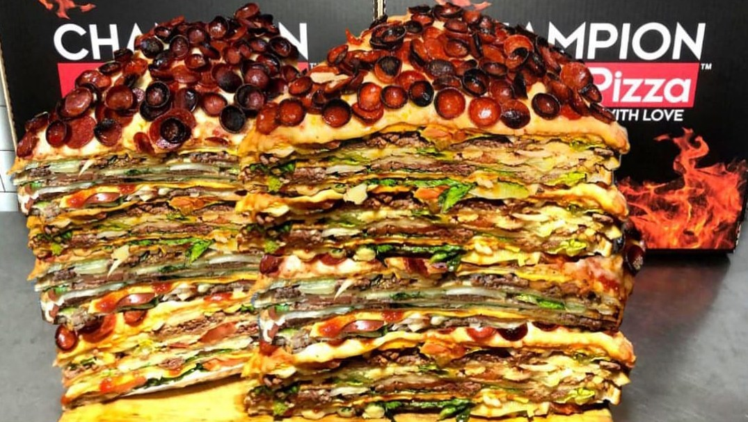 This 40-Pound Pizza Burger Is in a League of Its Own: 'A Heart Attack I'm Willing to Risk'