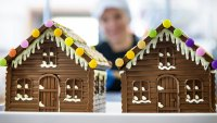 Close up of chocolate houses made in sweet factory