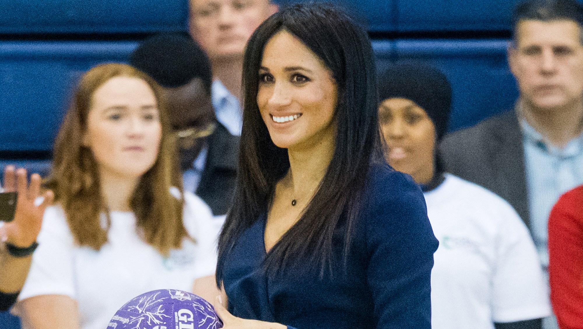 Megan Markle Plays Basketball in Oscar De La Renta and Heels at Royal Function With Prince Harry