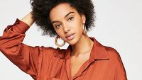 rust brown blouse menswear inspired shirt