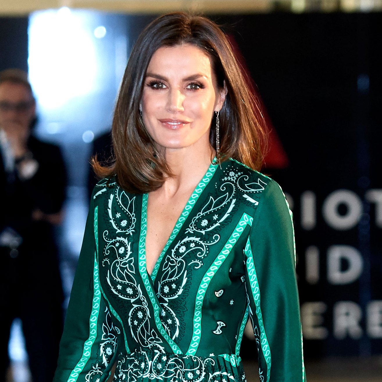 Queen-Letizia-Ortiz-of-Spain-green-pleated-gown