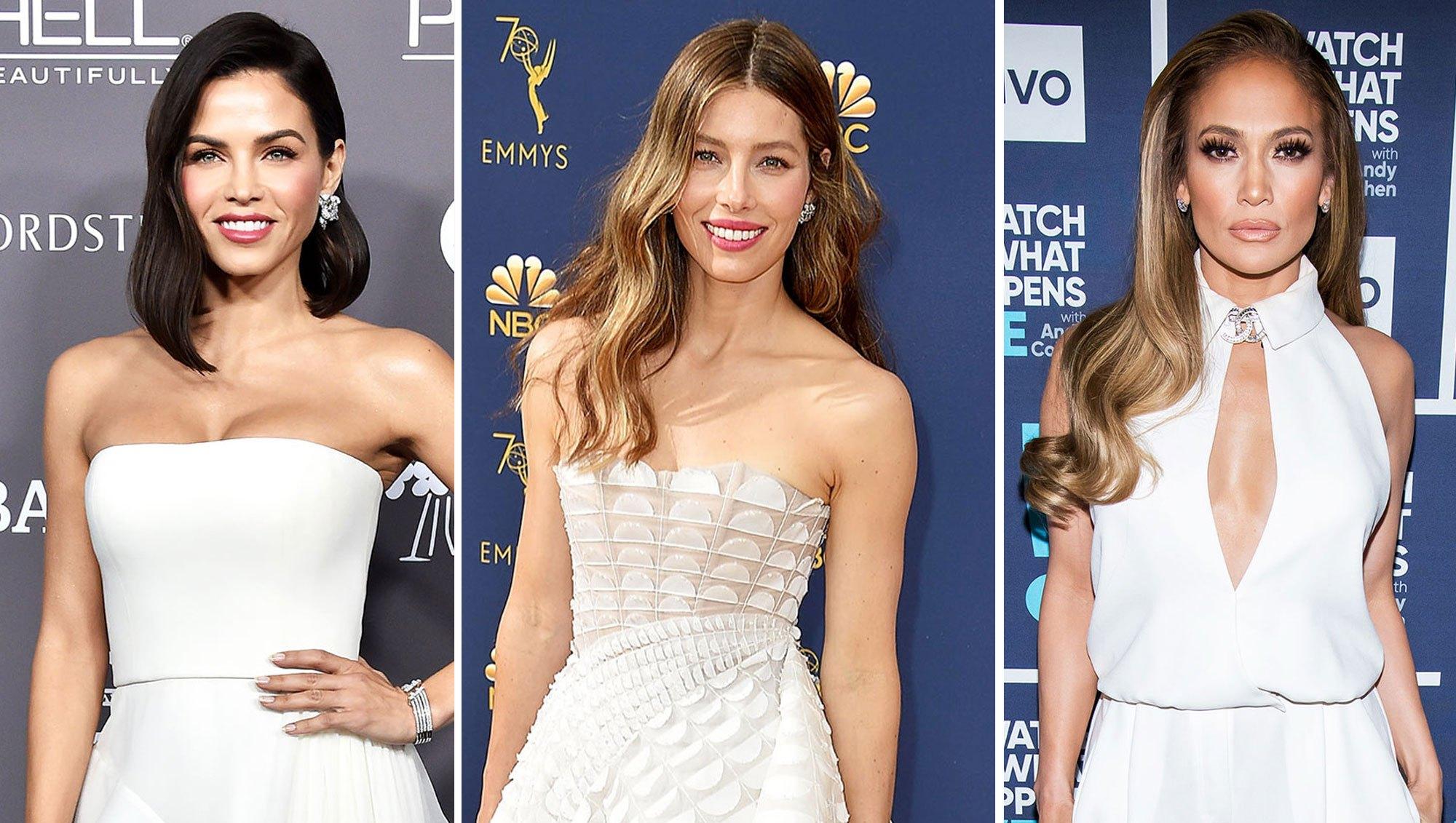 Jenna Dewan, Jessica Biel, and Jennifer Lopez red carpet white