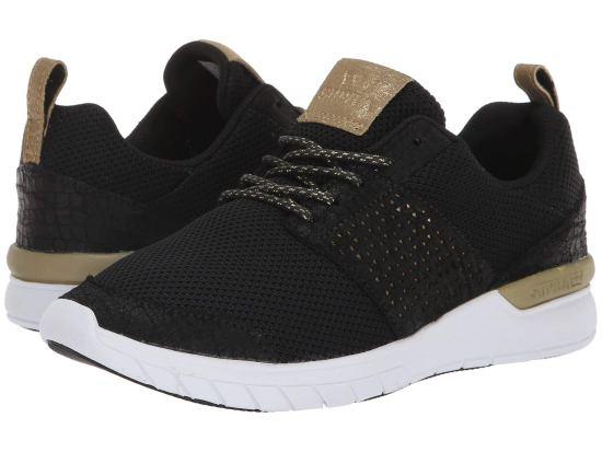 supra scissor sneaker in black gold and white