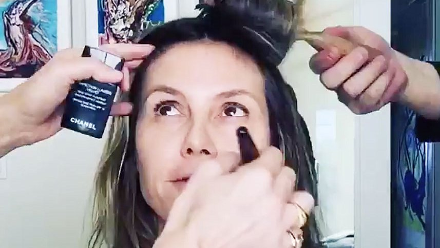 Stars Getting Ready Golden Globes 2019 Heidi Klum