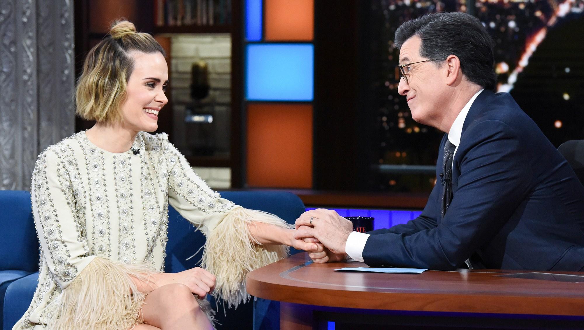 Sarah Paulson Tells Stephen Colbert She Has Not Seen 'Bird Box' Yet: 'I Don't Watch Anything I Do'