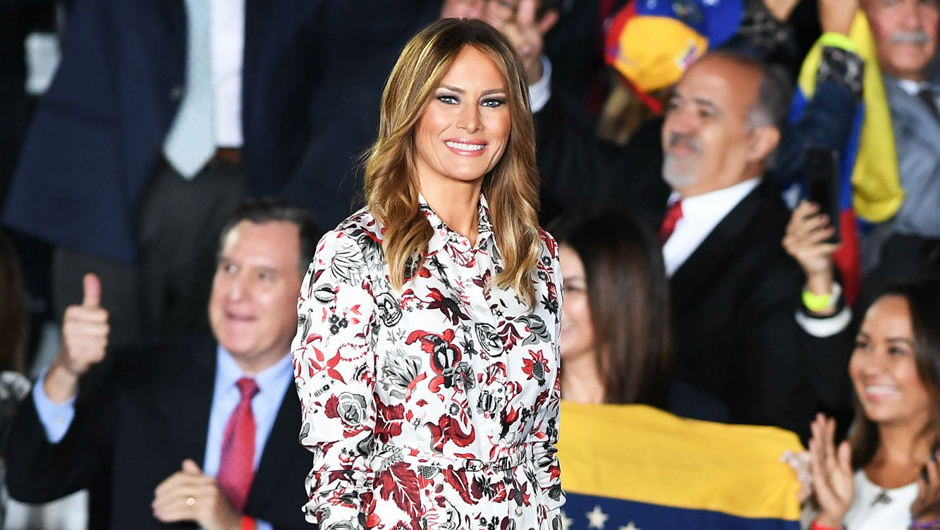 Melania Trump's New Outfit Includes Red Patent Leather Pumps