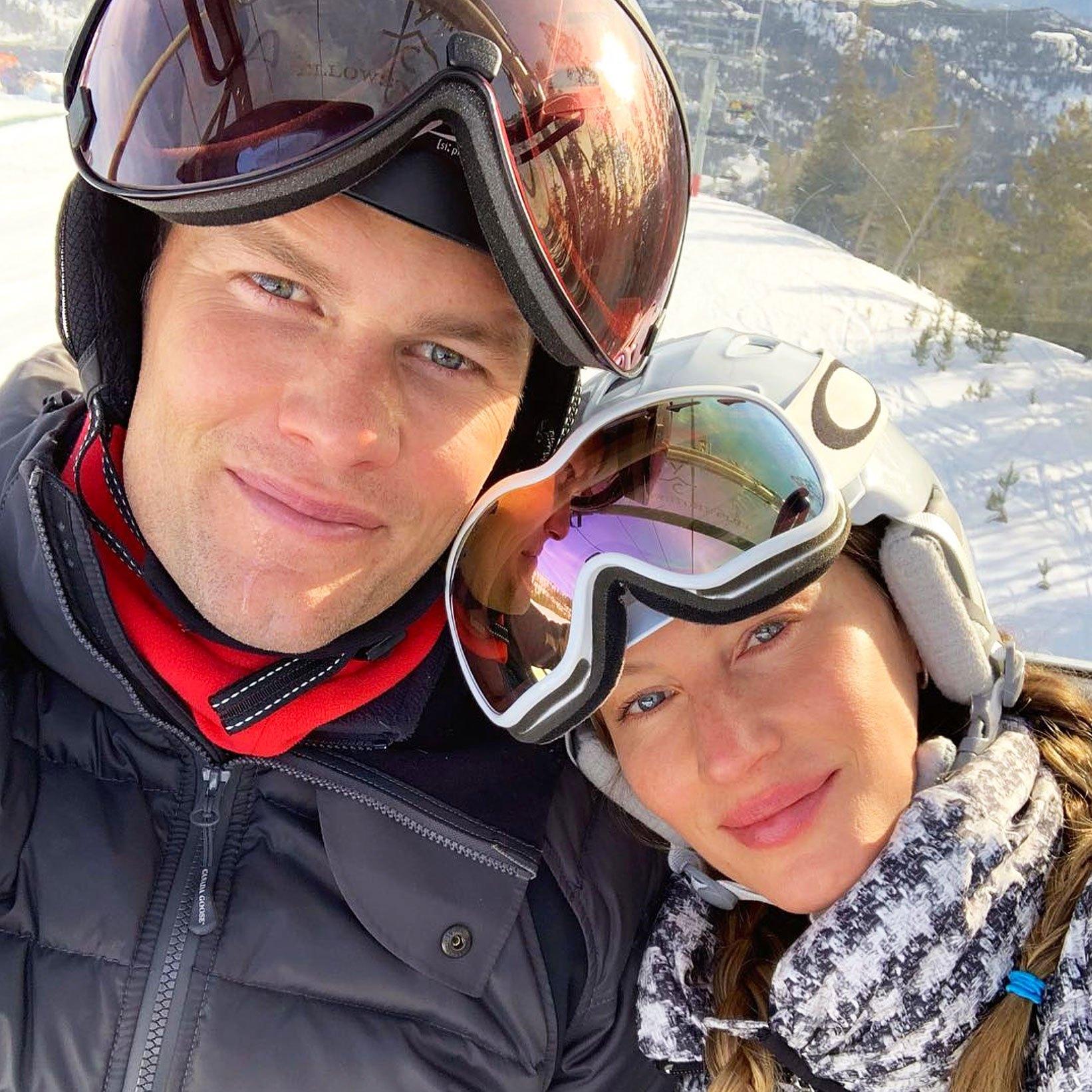 Tom Brady Gisele Bundchen Twinning Ski Style
