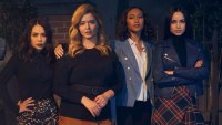 Janel Parrish as Mona, Sasha Pieterse as Alison, Sydney Park as Caitlin, and Sofia Carson as Ava. Pretty Little Liars Fans Can Get a Free Makeup Application to Celebrate New Series The Perfectionists