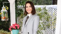 "Mandy Moore Hallmark's ""Home & Family grey blazer plaid dress black boots short hair"