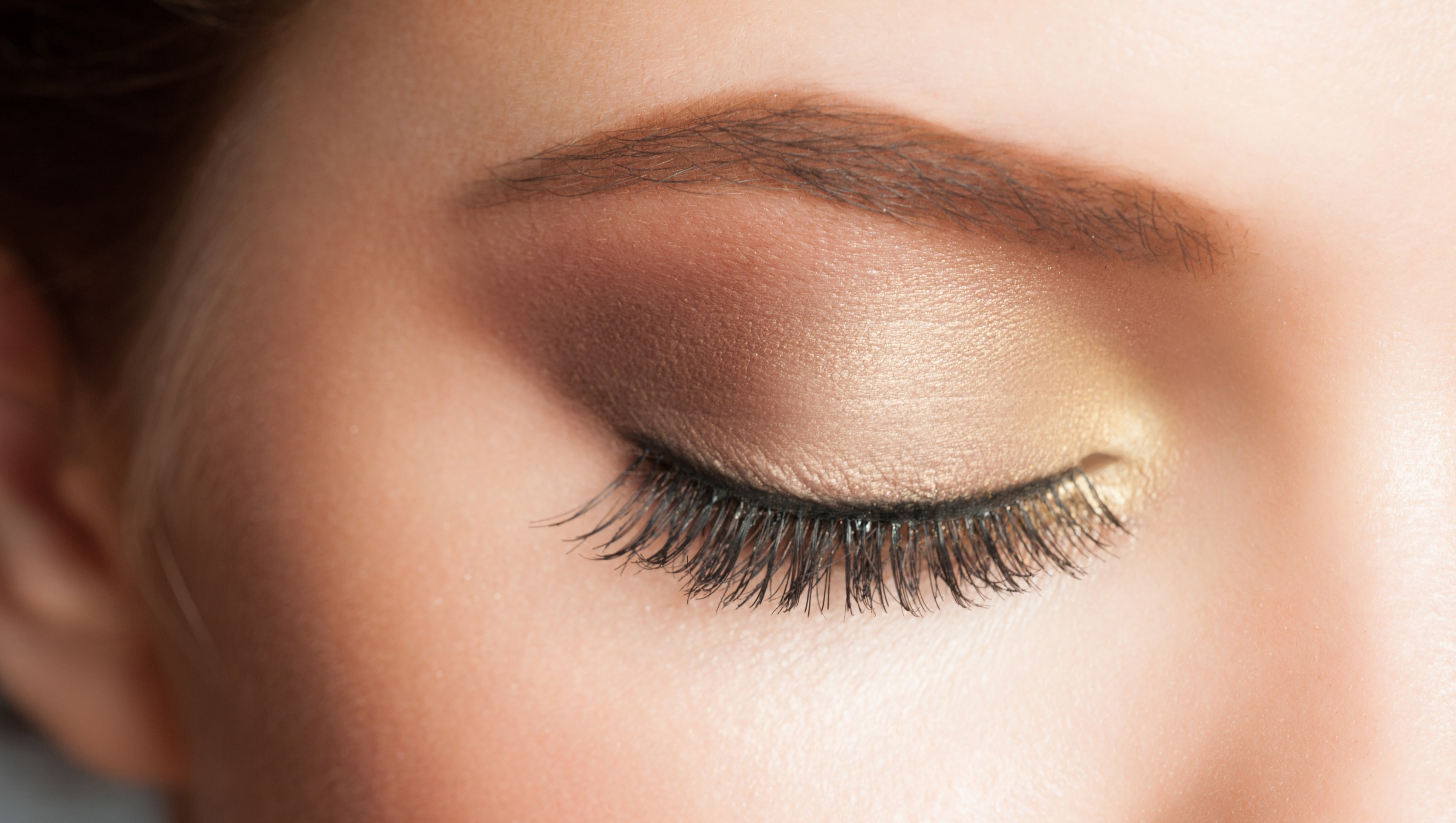 Closeup of woman eye with beautiful makeup