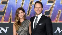 Chris Pratt Wearing a Black Suit and Tie With White Shirt and Katherine Schwarzenegger Wearing A Dress At Premiere Of Avengers: Endgame