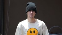 Justin Bieber Wearing Knit Hat and Smile Face Drew Shirt and Shorts