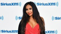 Nicole Snooki Polizzi Wearing a Red Dress and Black Scarf