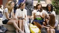 Blake Lively, Leighton Meester on Set of Gossip Girl