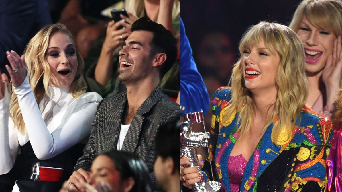 Joe Jonas Sophie Turner Cheer For His Ex Taylor Swift At The Vmas